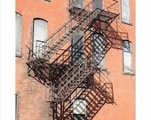 Fine Art Photography red brown fire escape brick building - 8 x 10 inches