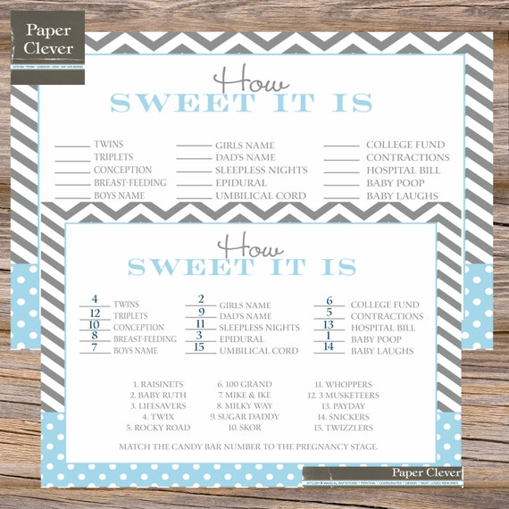 candy bar stages baby shower game instant download
