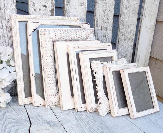antique white picture frames set of 10 painted von. Black Bedroom Furniture Sets. Home Design Ideas