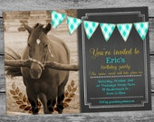 Horse Equestrian Birthday Invitation Card Chalkboard Boys Cards