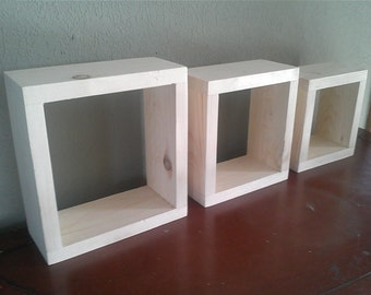 Unfinished wood wall shelves