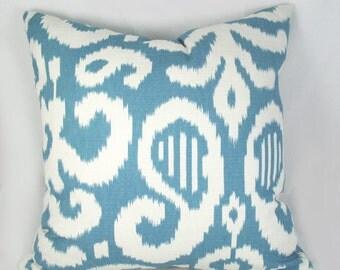 Duralee - Fergana Blue - Decorative Pillow Cushion Cover - Accent Pillow - Throw Pillow - blue white