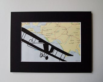 mounted aeroplane map print on vintage victoria, australia map 6 x 8, one of a kind