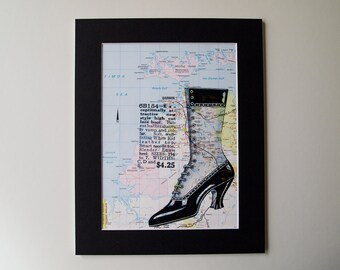 Vintage Map Print, Mounted - Lady's Shoe on Vintage Darwin Map 8 x 10""