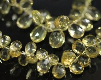 Beer Quartz Faceted Pear Briolettes, 6 - 8 mm, 6 beads GM0501FP/8/6