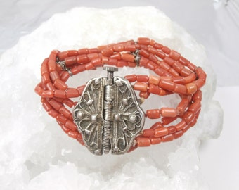Natural Coral and Silver Wide Bracelet Multi Strand Coral Bracelet, Mediterranean coral, Italian Red Coral