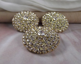 3pc. Gorgeous Round Rhinestone Brooches --- Gold Tone --- BR012-3