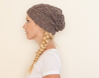 Slouchy hat beanie crocheted - heather brown - wool