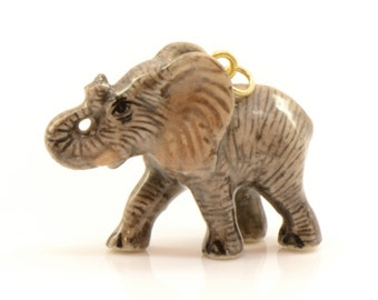 1 - Porcelain Elephant Calf Pendant Animal Hand Painted Ceramic Animal Ceramic Vintage Jewelry Supplies Little Critterz Porcelain (CA002)