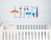 Little Man Wall Decal or Little Lady Wall Decal, Custom Name Wall Decal, Mustache Wall Decal for Nursery or Boys Room 076