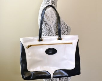 Vintage 60s Navy Blue Tote Vtg White Shoulder Bag Navy Shoulder Bag Spectator