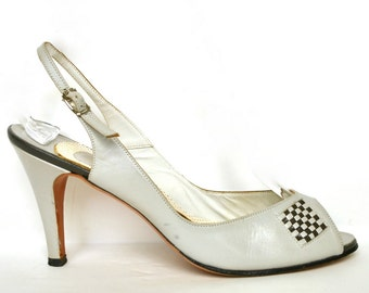 Vintage Stanley PHILIPSON Grey Leather Peep Toe Heels 8.5 Gray Checkered Pumps Shoes