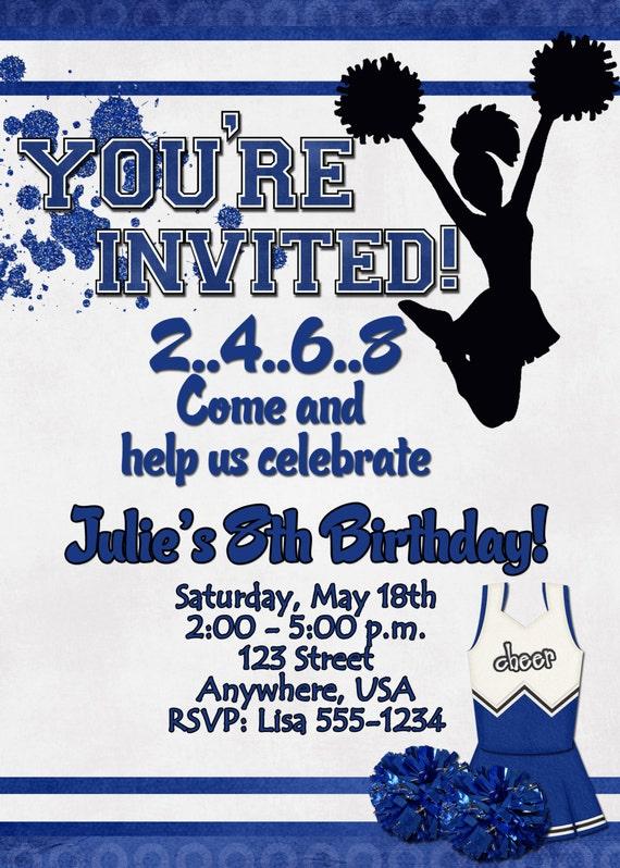 Items similar to Cheerleading Birthday Party Invitation on ...