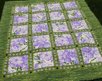 Beautiful Lap Quilt in Lovely Springtime Colors, Handmade Floral Dahlia Blanket in Purple Green White Martha Negley Fabrics