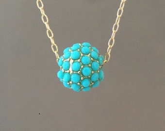 Gold Turquoise Ball Pave Crystal Necklace