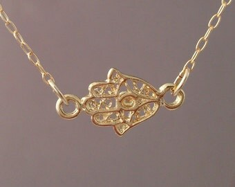 Sideways Tiny Gold Hamsa Necklace w/Evil Eye