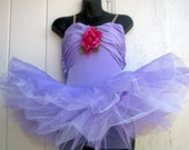 Romantic Fantasy Ballerina Tutu Dress. Lavender with a Deep Pink Rose Accent. High Quality.