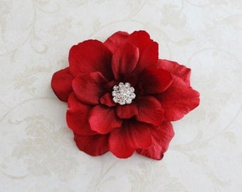 Red Flower Clip w/Rhinestone Center  Ruby Red Women's / Bridesmaids Flower Clip - Baby / Girls Hair Clip  - Hair Pin
