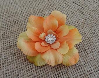 Golden Orange Flower Clip w/Rhinestone Center   Women's Flower Hair Pin -  Girls Hair Clip  - Brooch