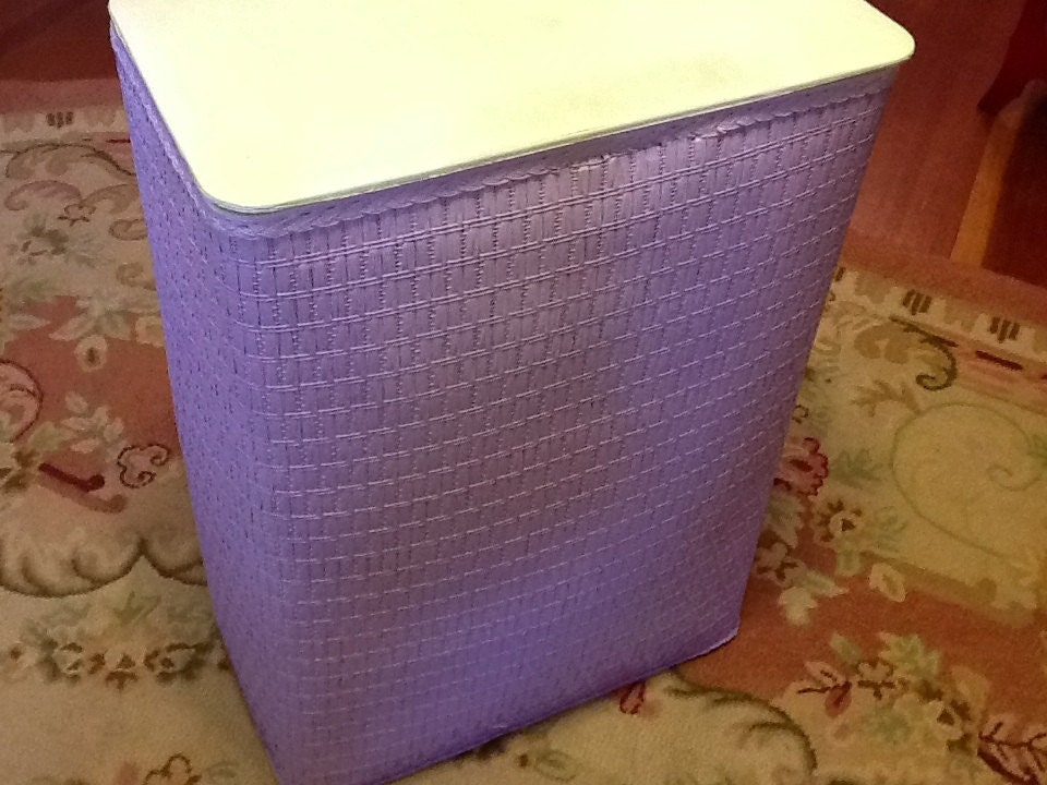 Vintage Lavender Wicker Laundry Hamper