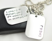 Hand Stamped Necklace, hand stamped dog tag personalized necklace,Mens Personalized Jewelry, Fathers Day personalized necklace,