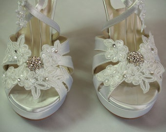 Wedding SHOES high heels 4'' Inches White, Ivory, Offwhite, trimmed white, or ivory floral appliques and crystals,Satin Wedge Peep Toe Heels