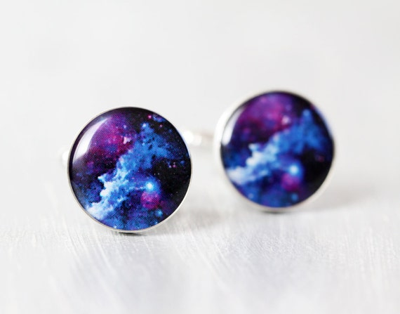 Space Men cufflinks - Cosmic Galaxy Blue Cuff links for him - Universe, Stars, Nebula