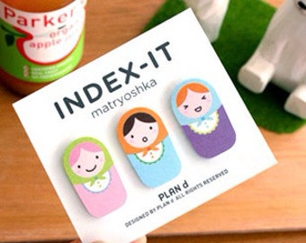 A Set of Matryoshka Russian Doll Index Sticker (3 versions for selection)