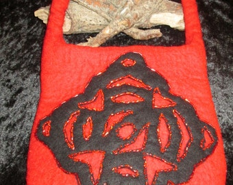 Handmade Felt Handbag/Purse with beaded appliqué in Red & Black