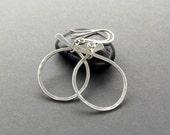 Matte Silver Hoop Earrings, Hammered Silver Hoops, Modern Matte Silver Earrings, Item E102