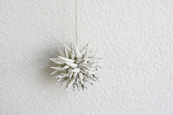 spiky origami decor . 4'' polish star . wedding gift . paper urchin . holiday ornament -book page