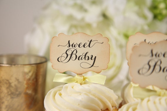 baby shower cupcake toppers bee theme sweet baby vintage, Baby shower invitation
