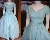 Vintage 1950s Mary Sachs Baby Blue Evening Dress Long Gown Drape Front Rosette Trim Crinoline Party Lucy Dress Mad Men Dress