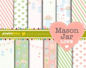 Mason Jar Love Digital Scrapbooking Paper