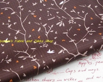 WF063  - 1/2 yard Vinyl Waterproof Fabric - Branches and birds ( Brown background)