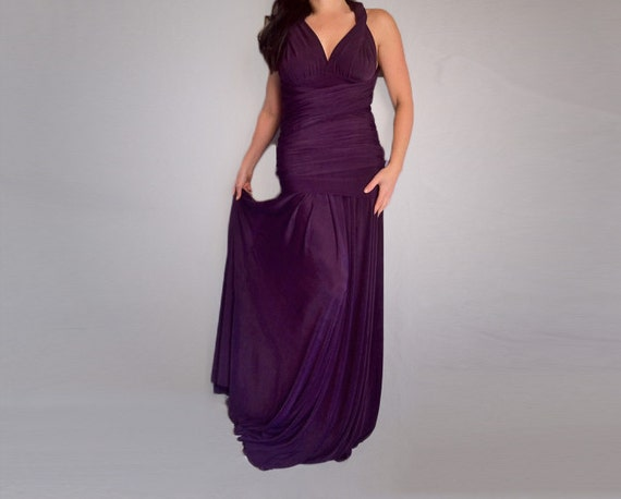 Eggplant Wrap Convertible Maxi Dress Infinity Multi Way Dress Wedding Bridesmaid Dress Made to Measure Plus Size Eggplant Purple Dress