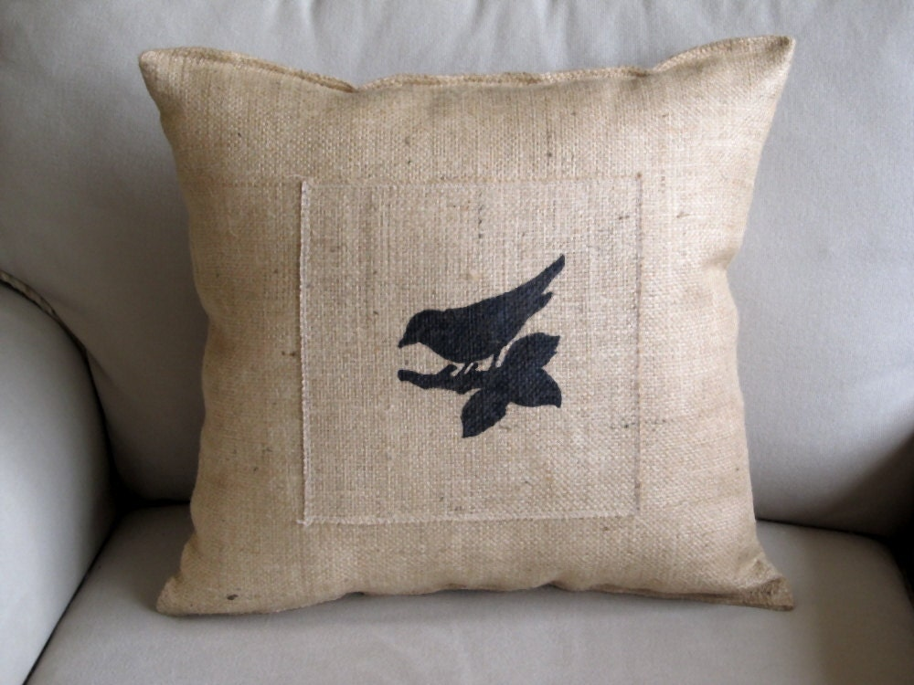 3 Petal Bird Hand Painted Burlap Pillow