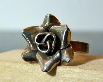 SALE Vintage Silver Elegant Rose Flower Ring