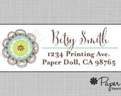 Whimsical Artistic Flower in Teal & Yellow Sticker Label - Personalized Custom Return Address Labels - Christmas, Hostess, Party Gift.