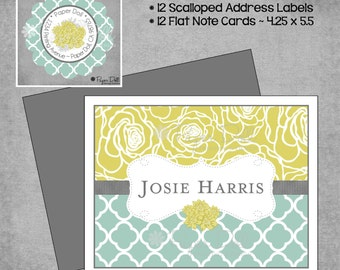 Gift Set - Flowers and Moroccan- Note Cards & Labels