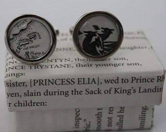 Game of Thrones//Targaryen Sigil and Map//Targaryen crest and Dragonstone //Literature Cufflinks/ ASOIAF