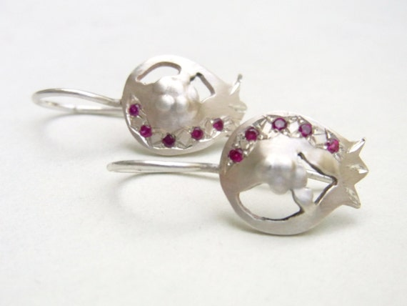 Silver Pomegranate with Ruby Earrings - Sterling silver with red rubies, delicate dangle earrings
