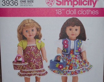 American Girl Doll Clothing Patterns...Simplicity #3936...18 Inch Doll Patterns...Very Cute....Dresses...Skirts...Tops...Poncho...Pants...