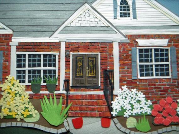 Custom Mixed media house - custom house portrait, realistic collage house, custom building, favorite place, city
