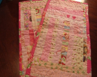 Scrappy Pink quilted baby burp cloths