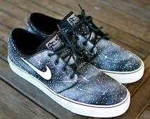 Custom Hand Painted Twilight Zone Black and White Galaxy Nike Stefan Janoski Skate Shoes