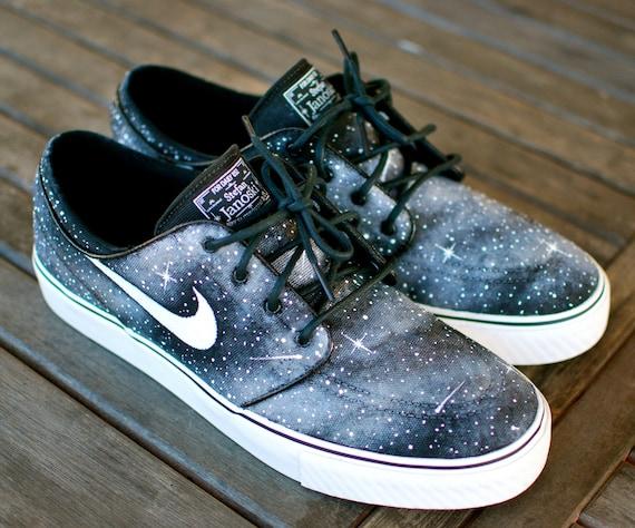 Custom Hand Painted Twilight Zone Black and White Galaxy Nike Stefan