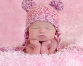 3 to 6 months Sweet Pink Baby Bear Hat with tassels. Must Have Prop!
