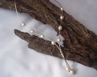 """White freshwater pearl & Sterling silver """"Beth"""" necklace"""