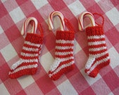 Candy-Striped Miniature Christmas Stockings